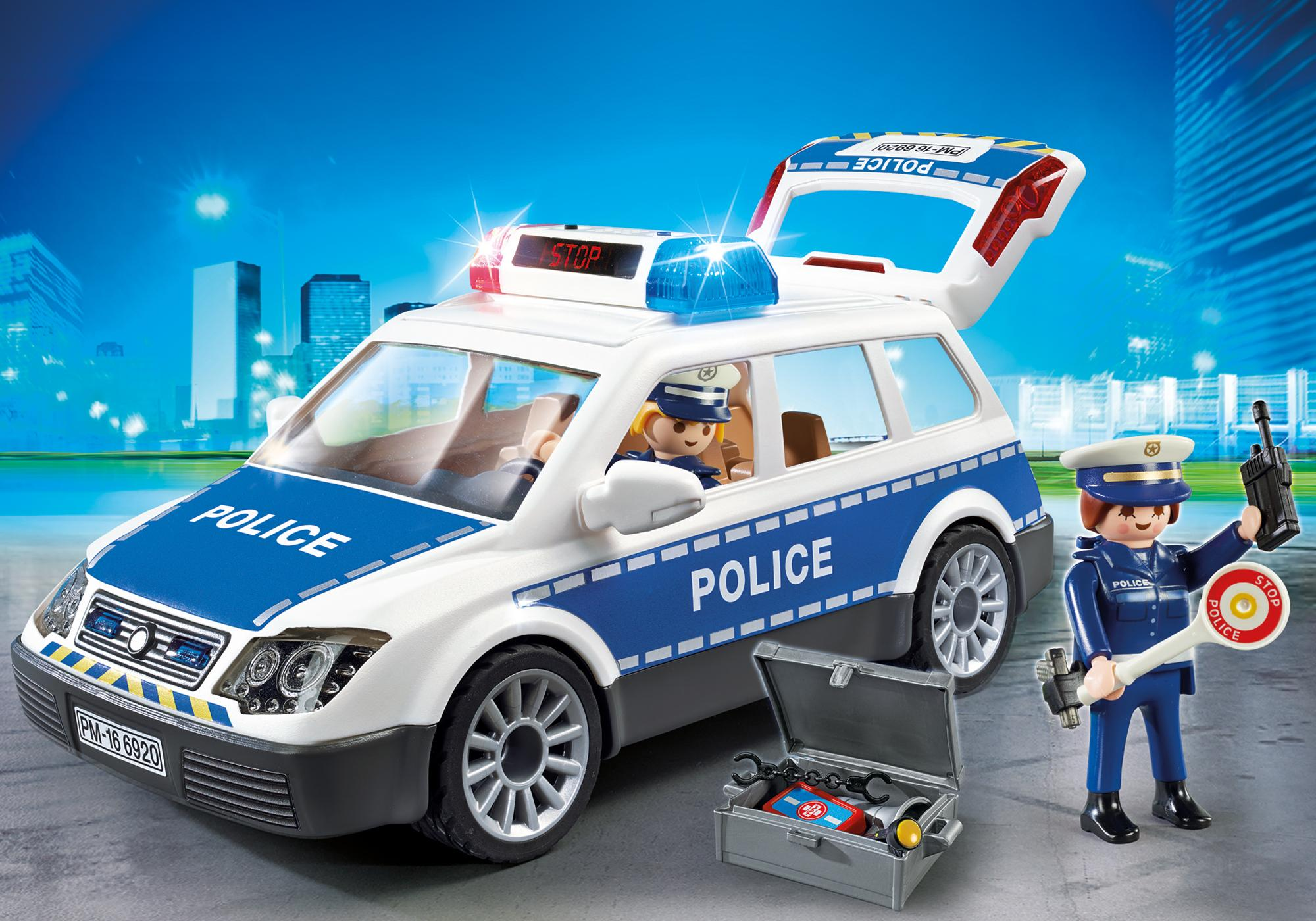 Coche de Policía con Luces y Sonido