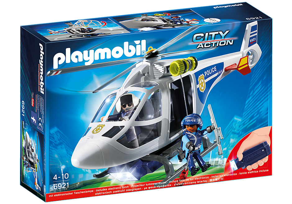 6921 Hélicoptère de police avec projecteur de recherche detail image 2