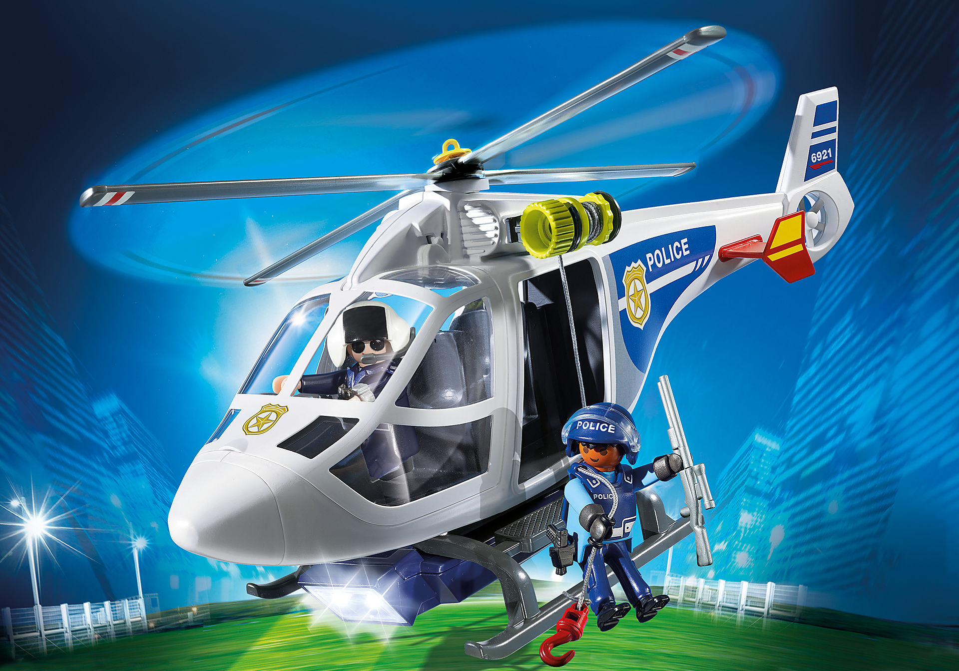 6921 Police Helicopter with LED Searchlight zoom image1