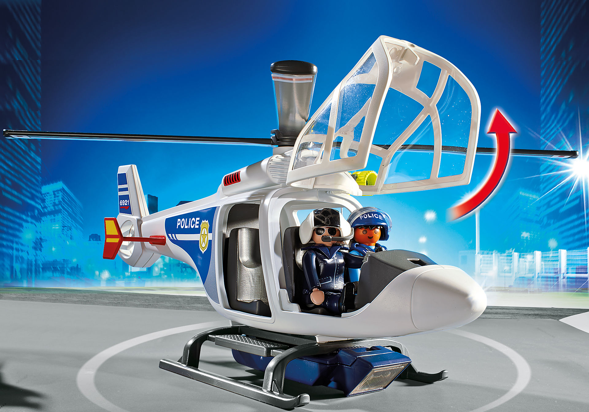 6921 Police Helicopter with LED Searchlight zoom image4