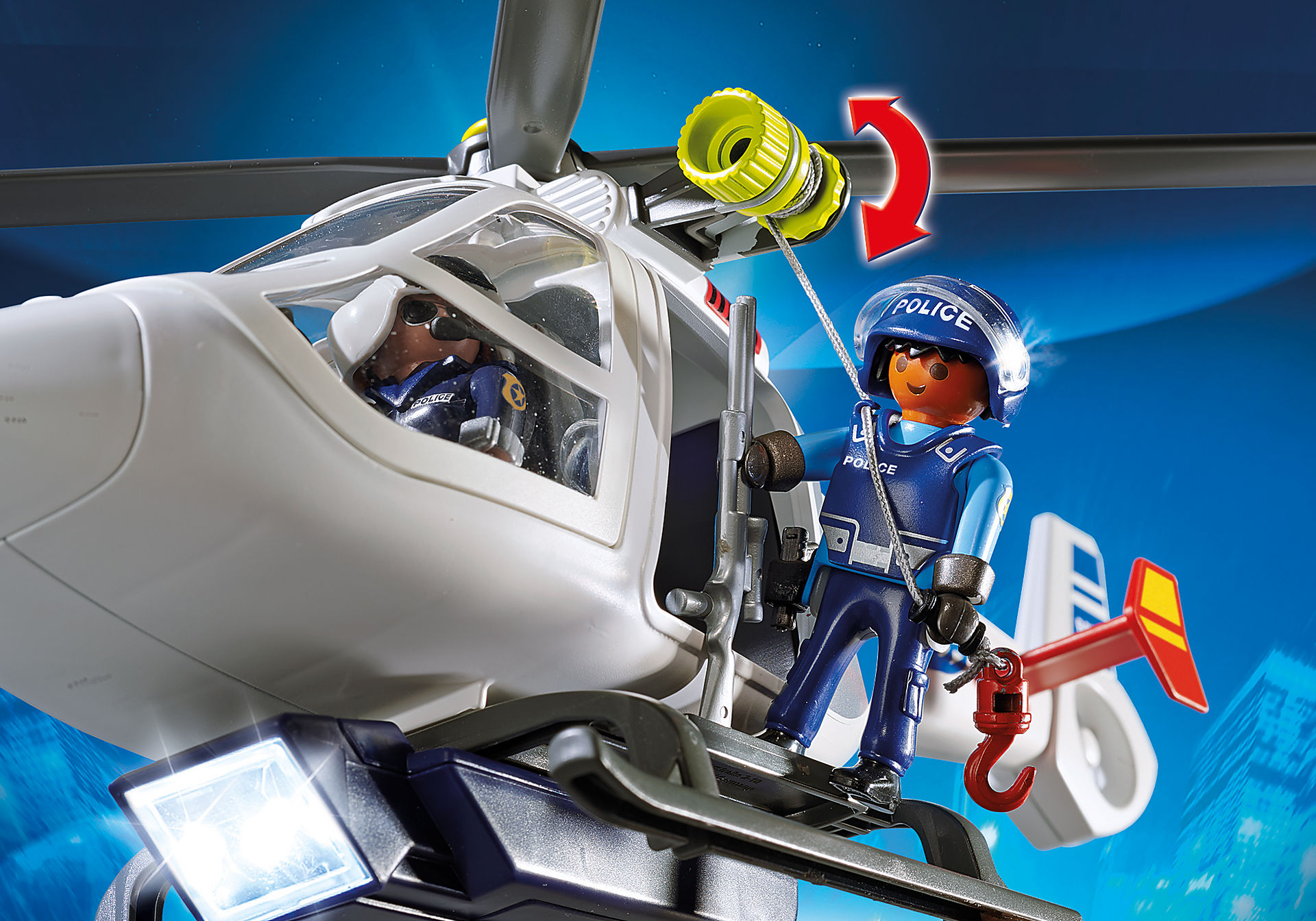 6921 Hélicoptère de police avec projecteur de recherche zoom image5