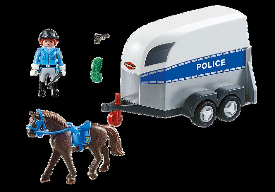 6922 Policière avec cheval et remorque detail image 3
