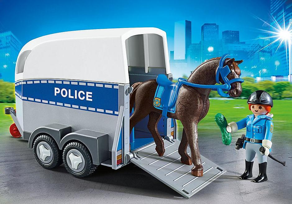 6922 Policière avec cheval et remorque detail image 1