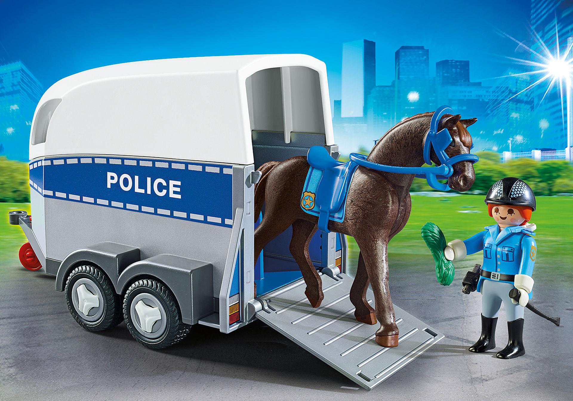 6922 Policière avec cheval et remorque zoom image1