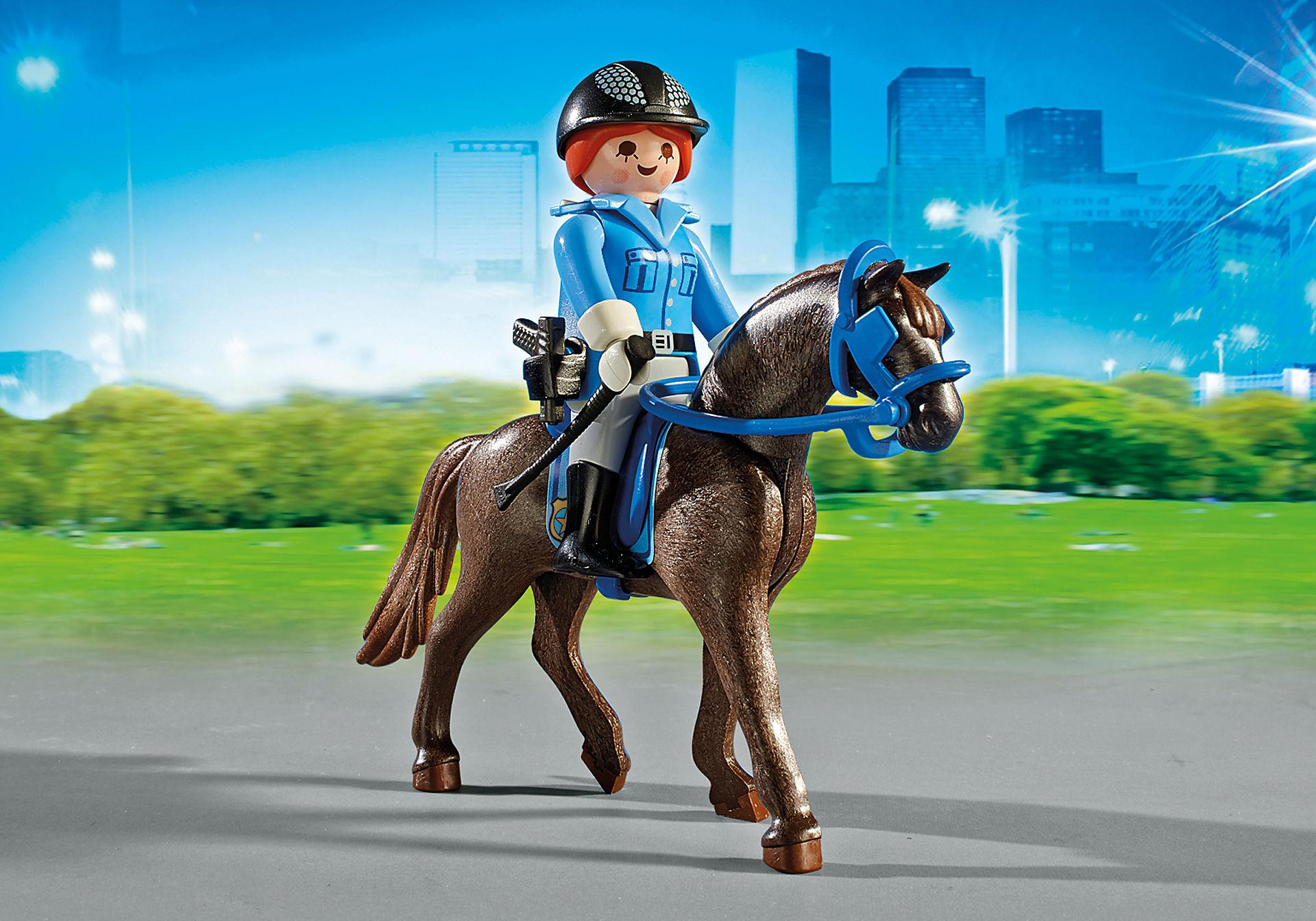 6922 Policière avec cheval et remorque zoom image6
