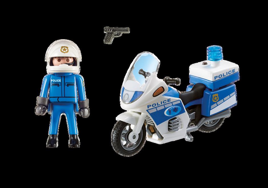 moto de policier avec gyrophare - Policier Playmobil