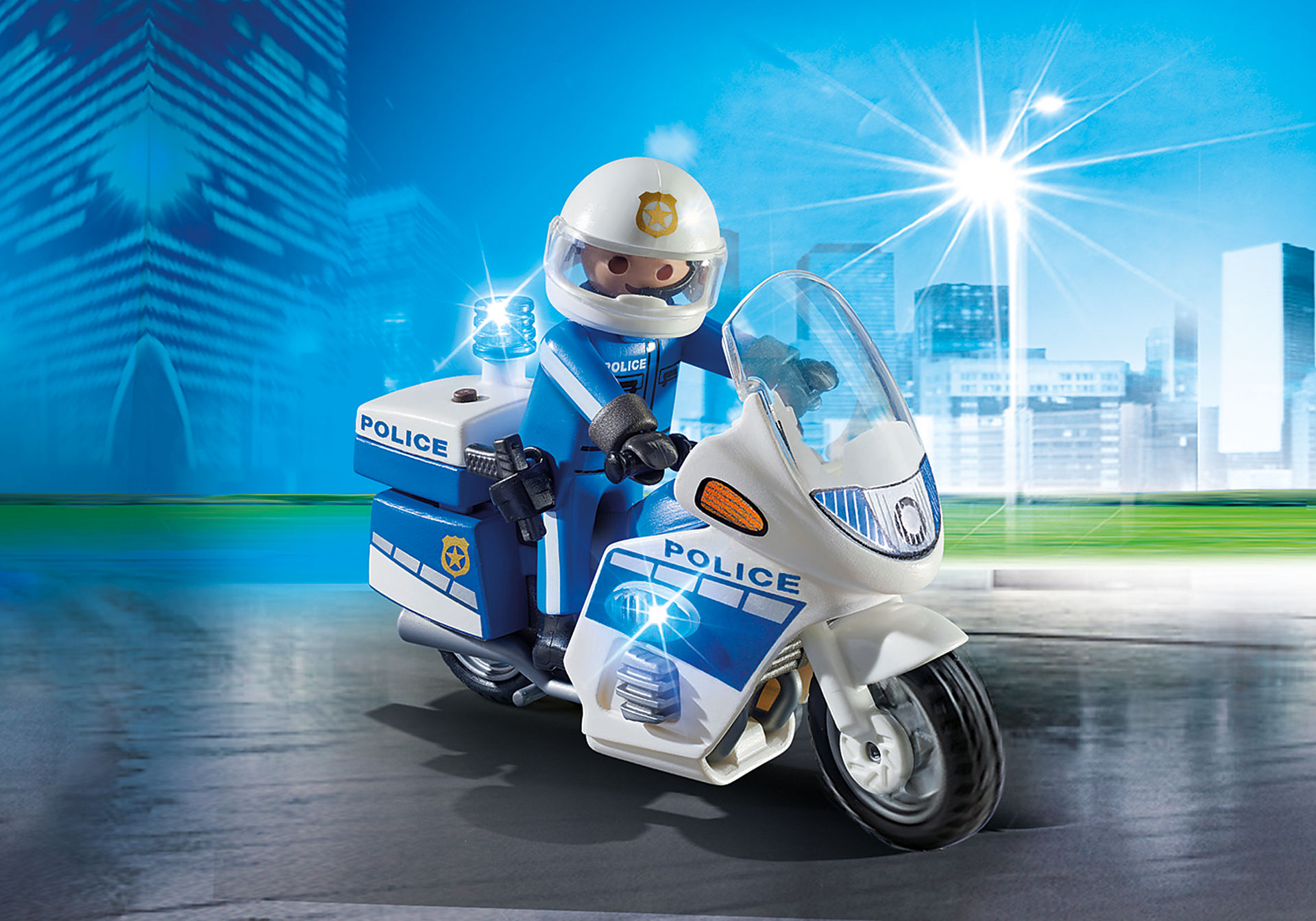 6923 Int. Motorradstreife mit LED-Blinklicht zoom image1