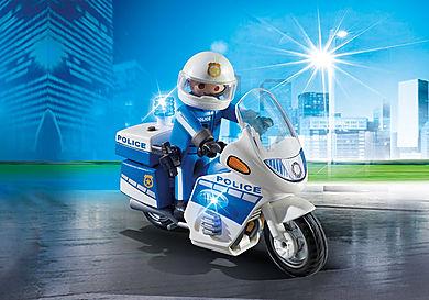 6923 Policía con Moto y Luces LED