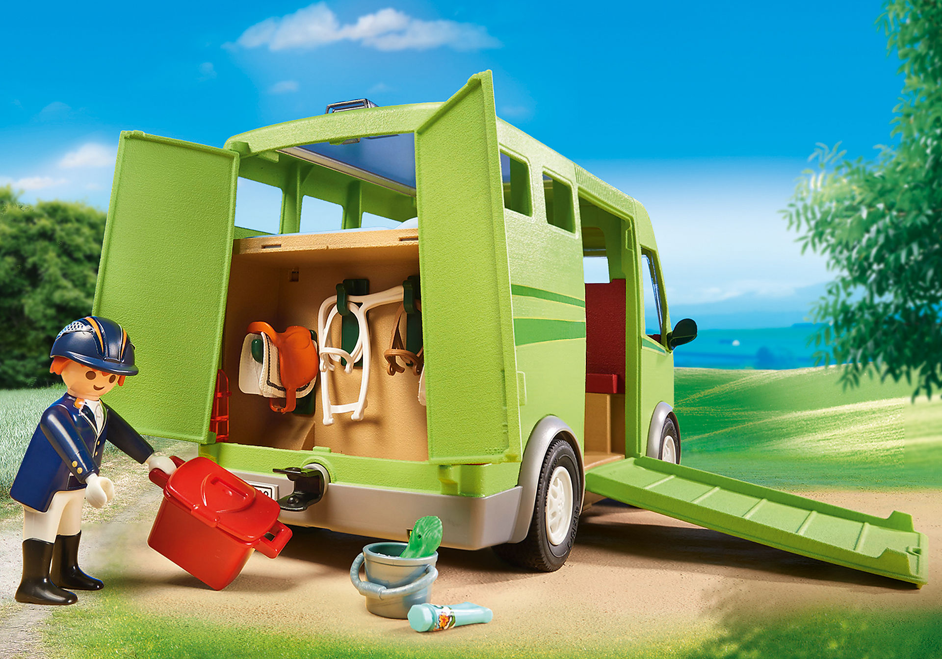 http://media.playmobil.com/i/playmobil/6928_product_extra2/Όχημα μεταφοράς αλόγων