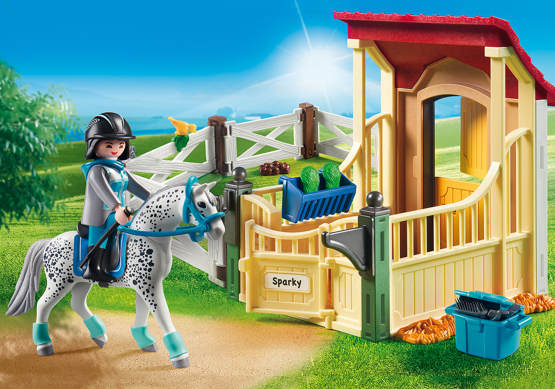 http://media.playmobil.com/i/playmobil/6935_product_detail/Άλογο Απαλούζα με στάβλο