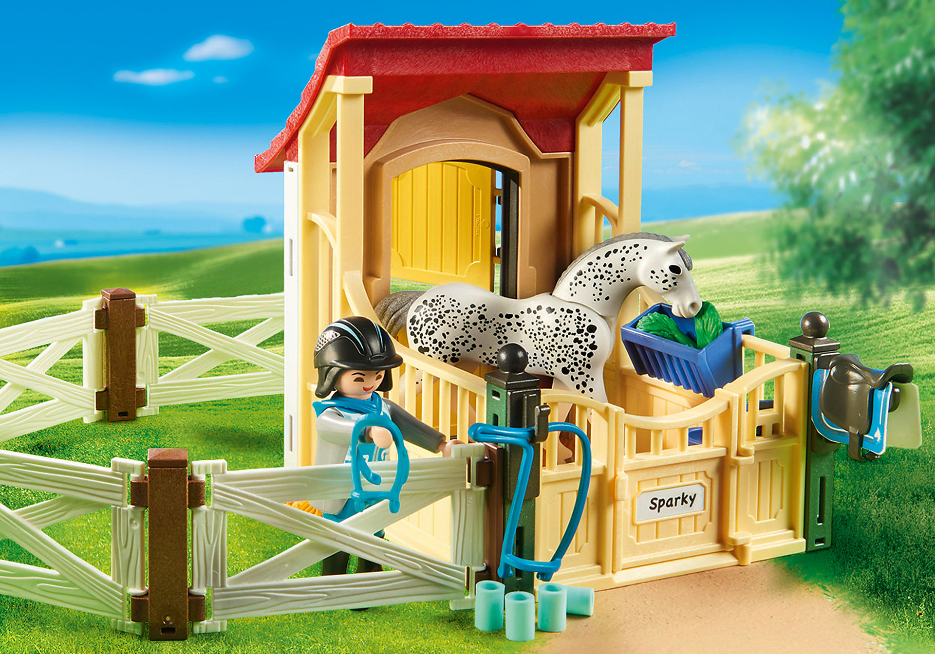 http://media.playmobil.com/i/playmobil/6935_product_extra2/Άλογο Απαλούζα με στάβλο
