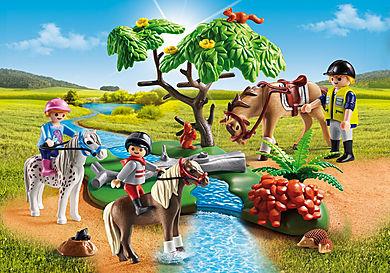 6947_product_detail/Cavaliers avec poneys et cheval