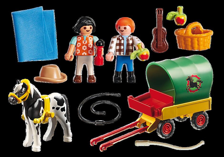 6948 Enfants avec chariot et poney  detail image 4