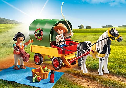 6948 Enfants avec chariot et poney