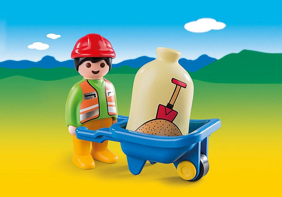 6961 Bauarbeiter mit Schubkarre detail image 1