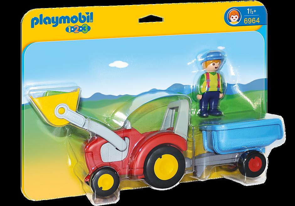 6964 Boer met tractor en aanhangwagen detail image 3