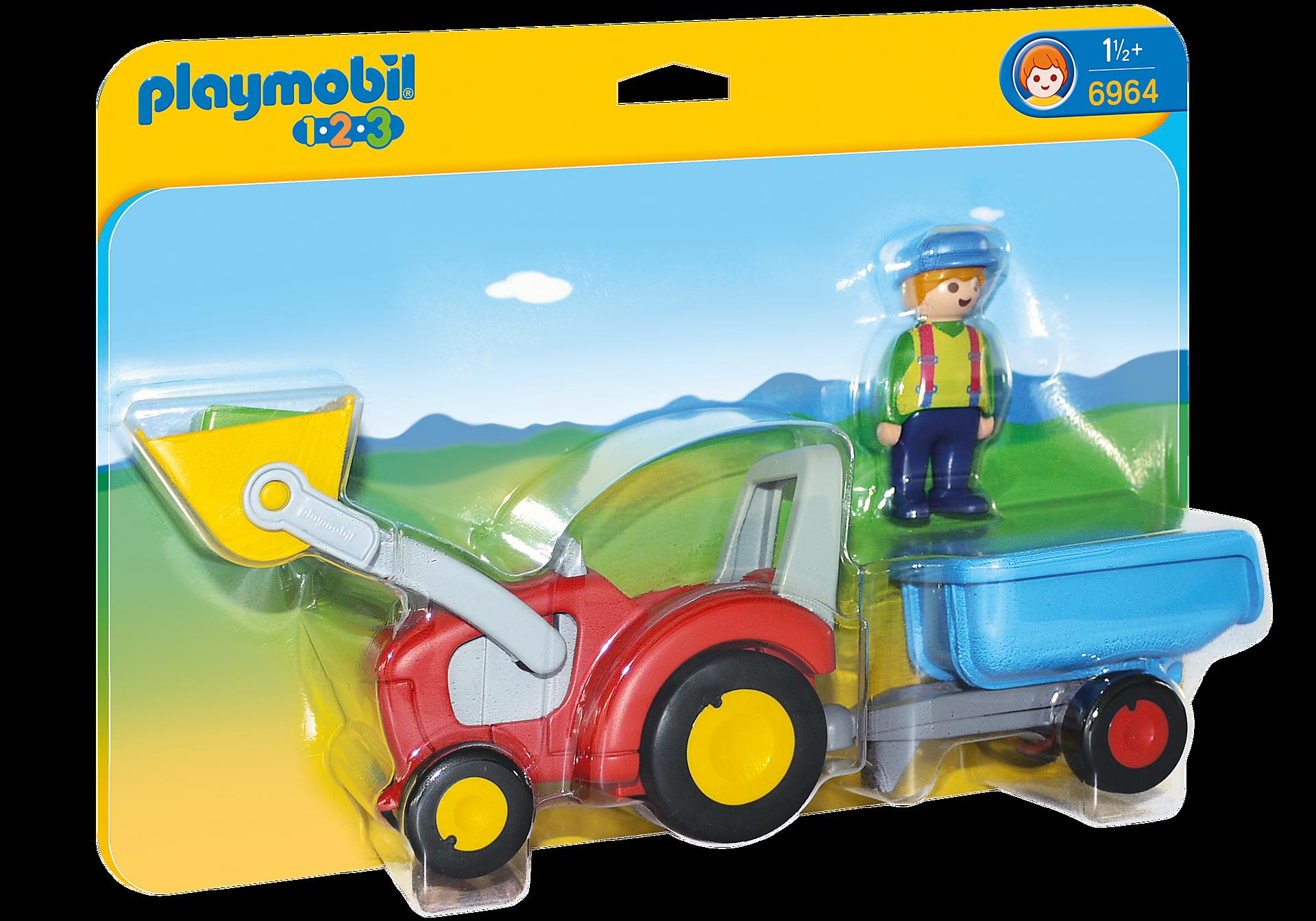 6964 Fermier avec tracteur et remorque zoom image3