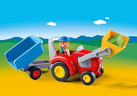 6964 Boer met tractor en aanhangwagen