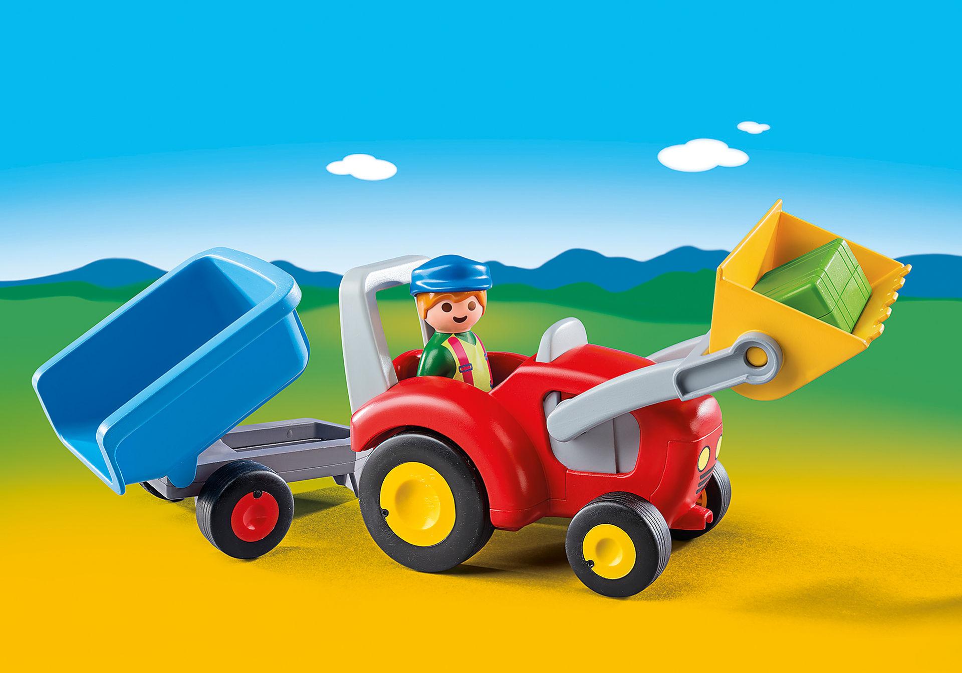 6964 Fermier avec tracteur et remorque zoom image1