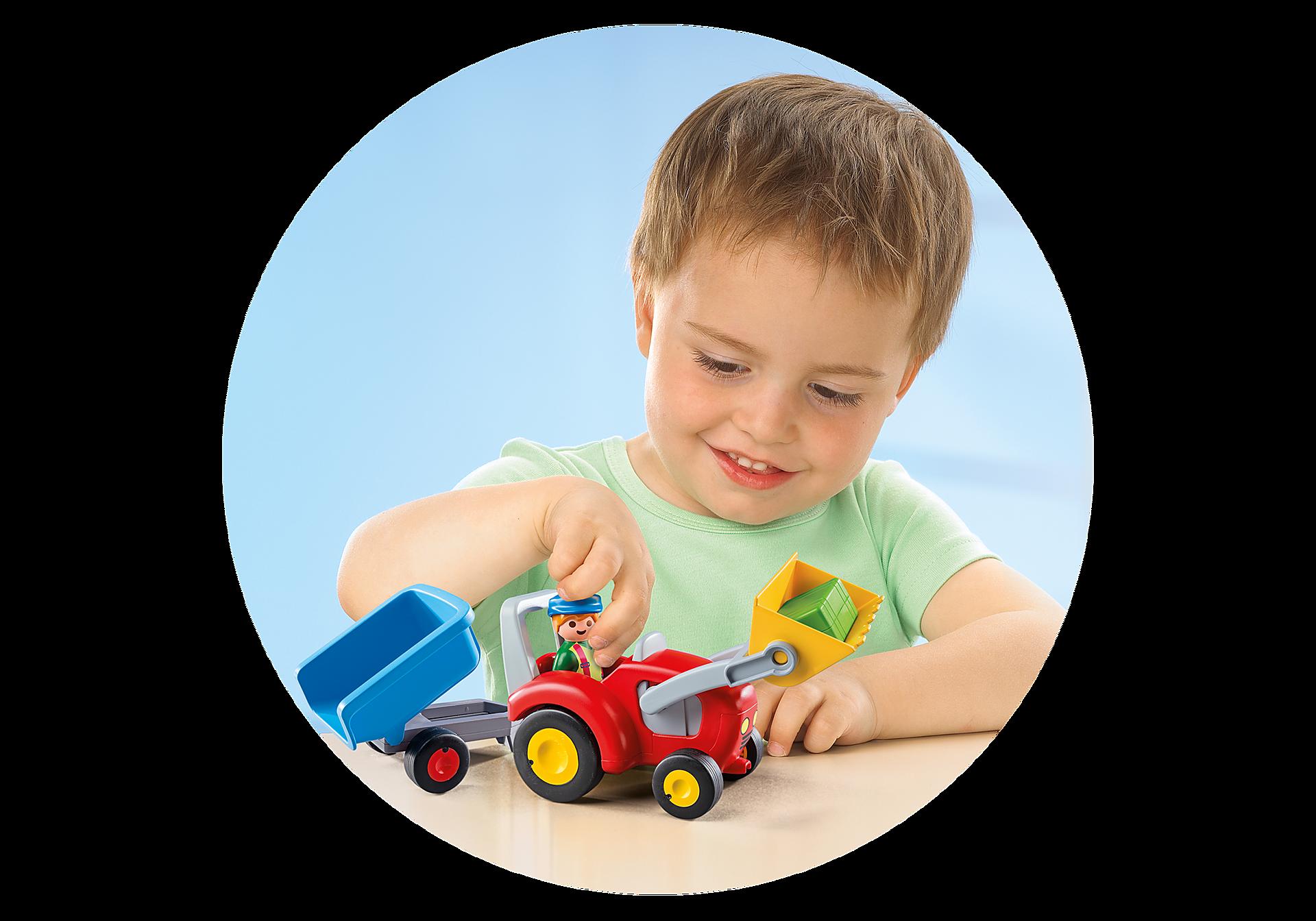 6964 Boer met tractor en aanhangwagen zoom image4