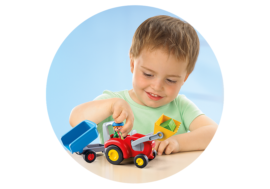 6964 Fermier avec tracteur et remorque detail image 4