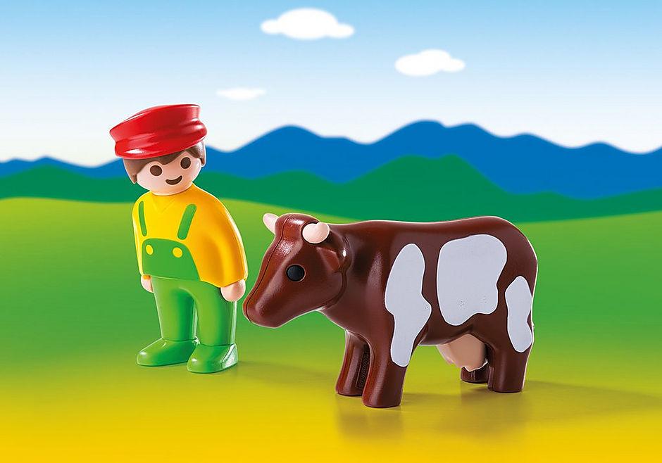 6972 Eleveur avec vache  detail image 1