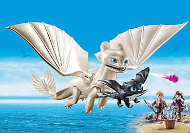70038 Furie Éclair et bébé dragon avec les enfants