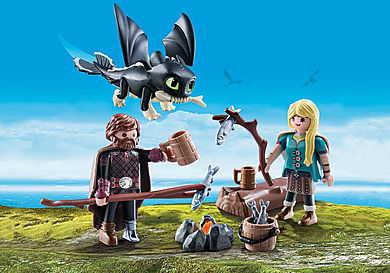 70040 Harold et Astrid avec un bébé dragon