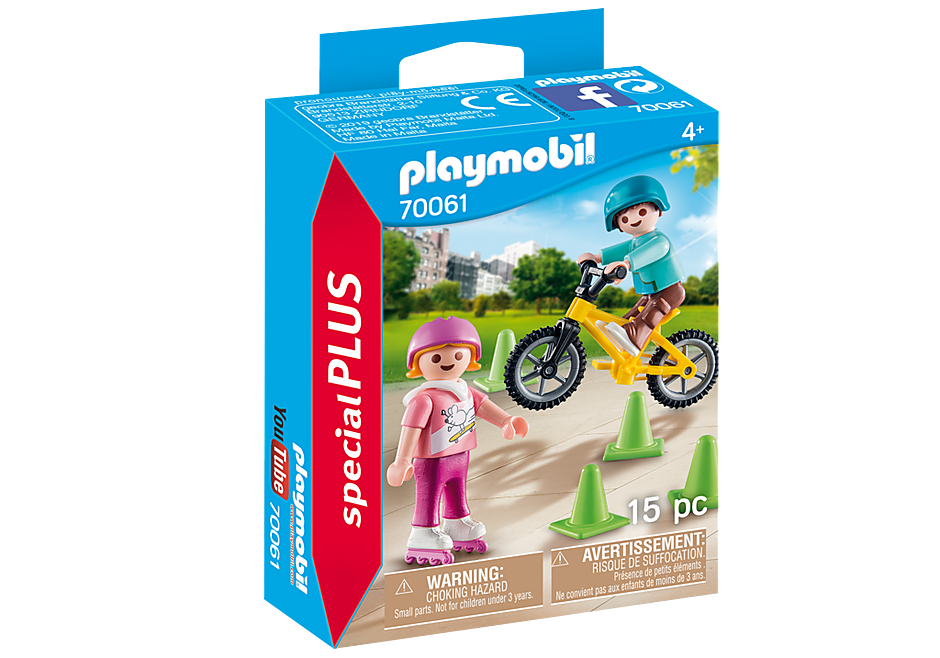 70061 Kinderen met fiets en skates detail image 2