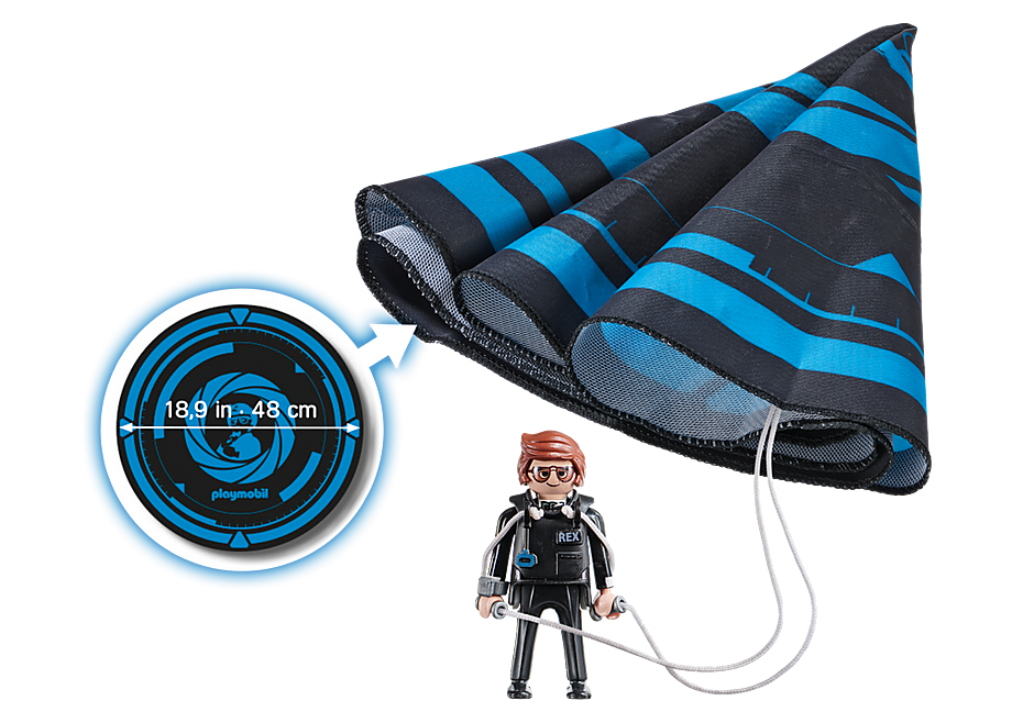 70070 PLAYMOBIL: THE MOVIE Rex Dasher avec parachute detail image 3
