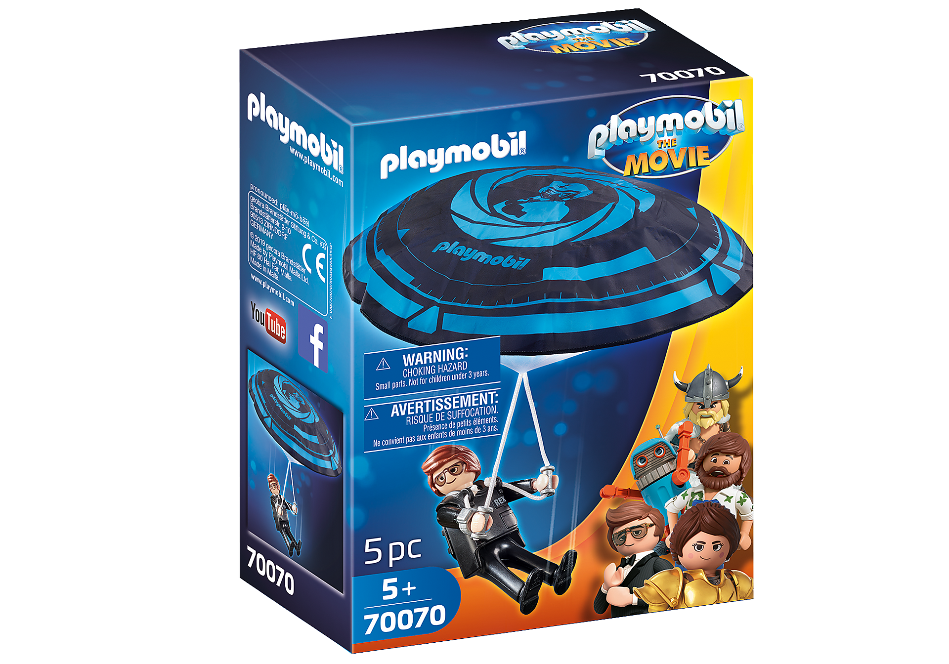 70070 PLAYMOBIL: THE MOVIE Rex Dasher with Parachute zoom image2