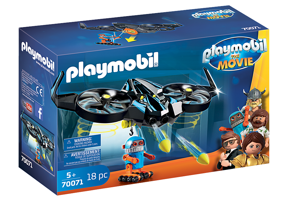 70071 PLAYMOBIL:THE MOVIE Robotitron with Drone detail image 2