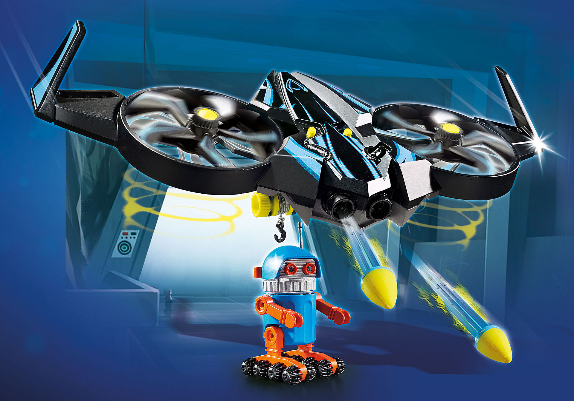 70071 PLAYMOBIL: THE MOVIE Robotitron con Dron zoom image1