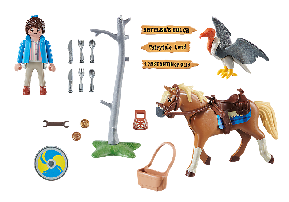 http://media.playmobil.com/i/playmobil/70072_product_box_back/PLAYMOBIL: THE MOVIE Marla com Cavalo