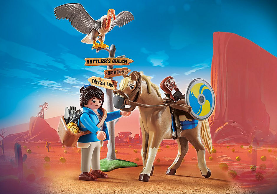 70072 PLAYMOBIL: THE MOVIE Marla with Horse detail image 1