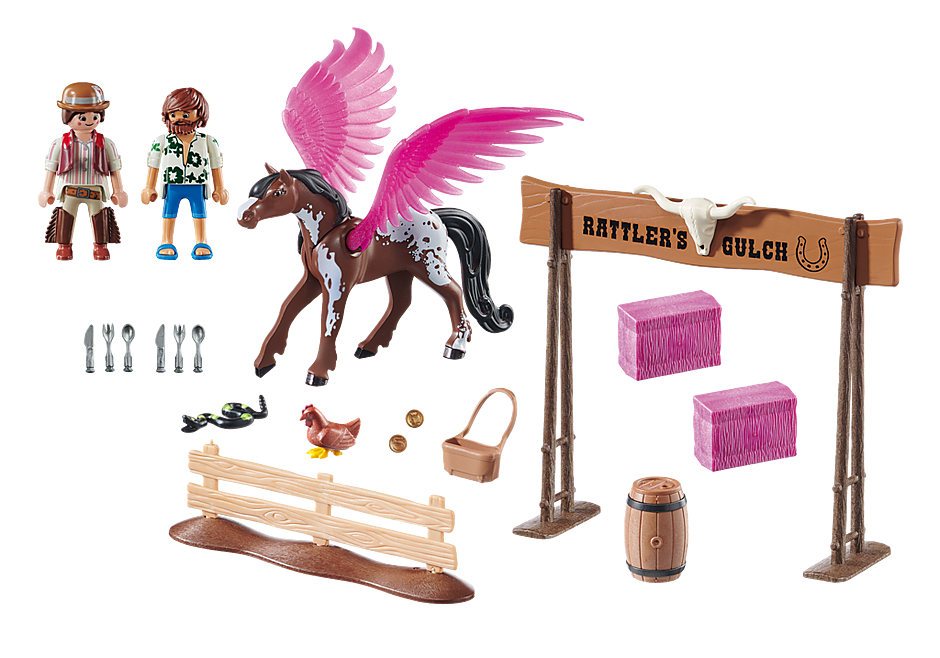 70074 PLAYMOBIL: THE MOVIE Marla and Del with Flying Horse detail image 3