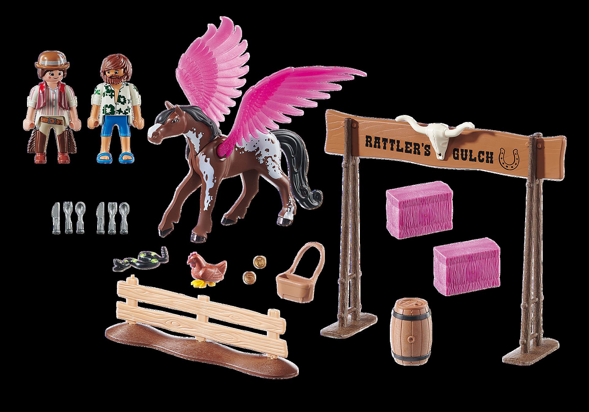 http://media.playmobil.com/i/playmobil/70074_product_box_back/PLAYMOBIL: THE MOVIE Marla et Del avec cheval ailé