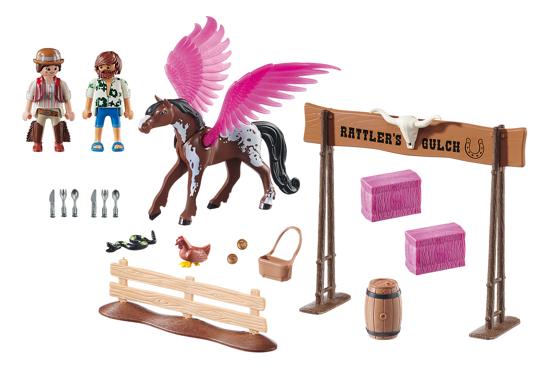 http://media.playmobil.com/i/playmobil/70074_product_box_back/PLAYMOBIL: THE MOVIE Marla, Del e Cavalo com Asas