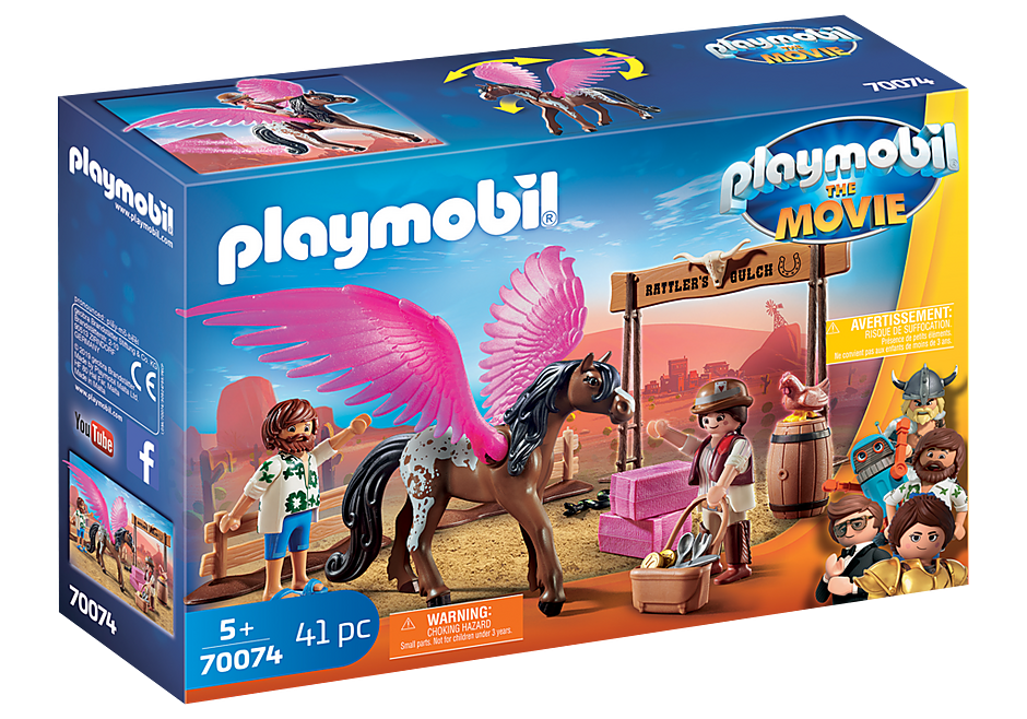 70074 PLAYMOBIL: THE MOVIE Marla and Del with Flying Horse detail image 2