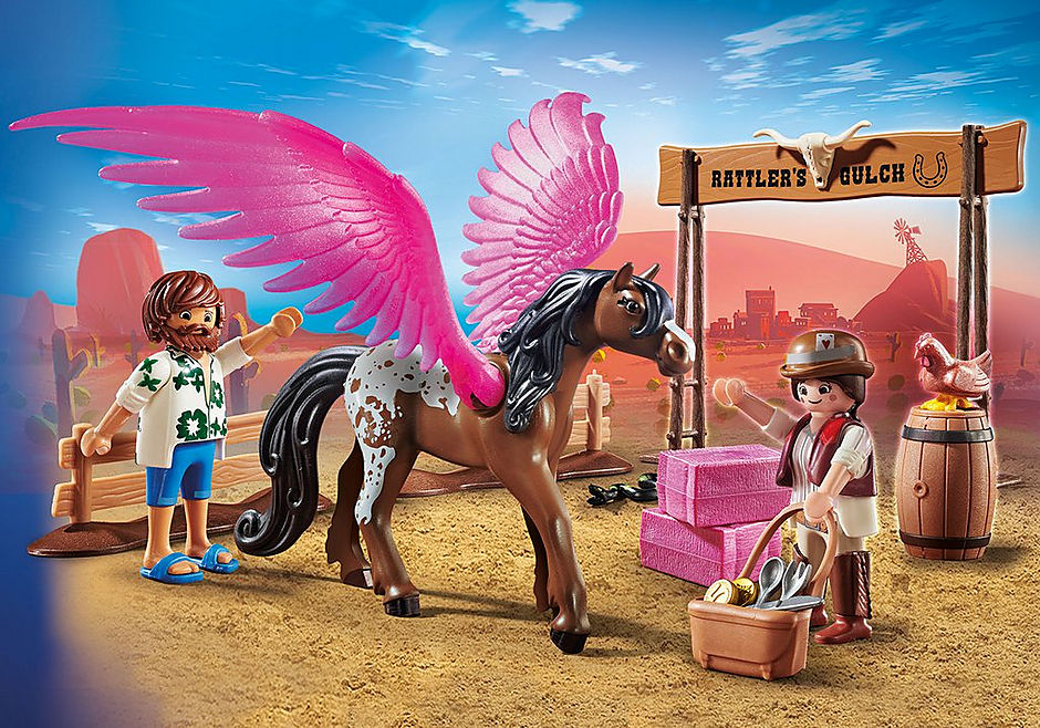 70074 PLAYMOBIL: THE MOVIE Marla et Del avec cheval ailé  detail image 1