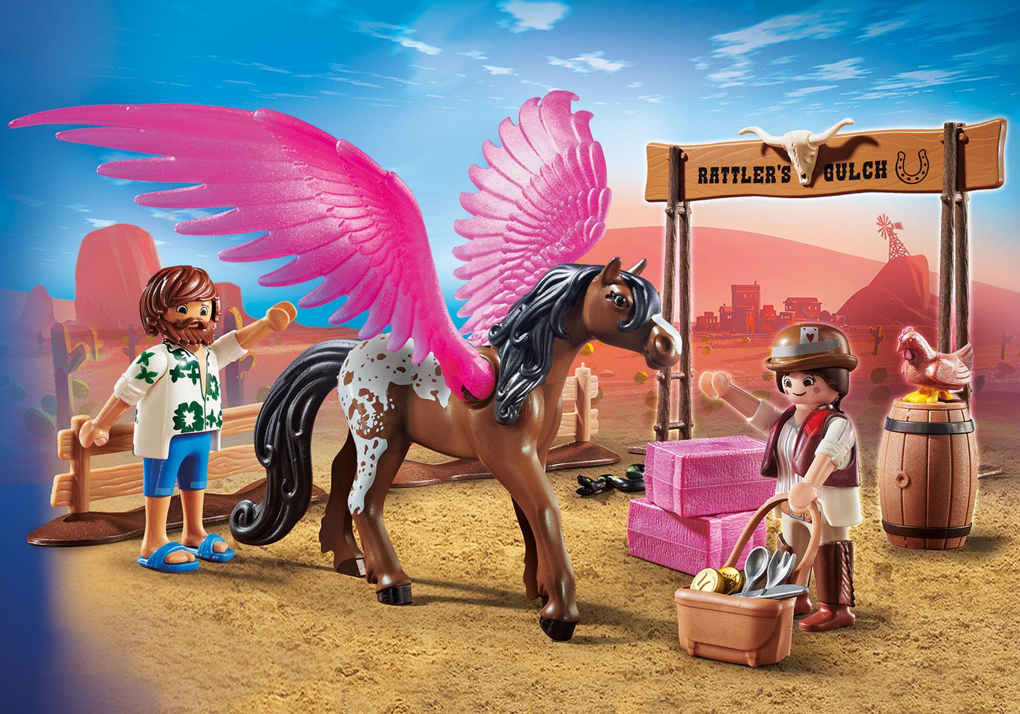 70074_product_detail/PLAYMOBIL: THE MOVIE Marla, Del e Cavalo com Asas