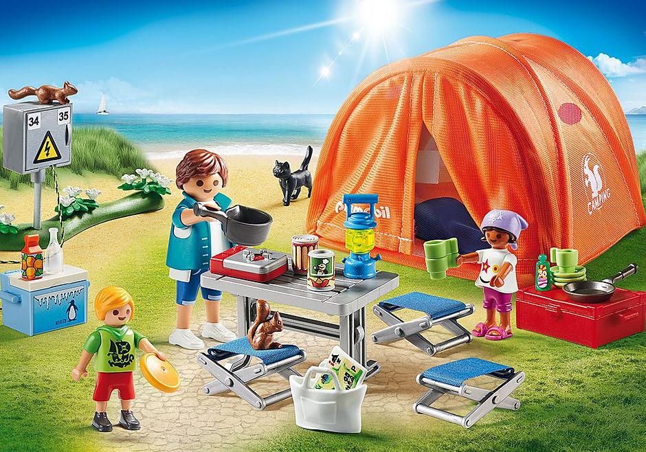 70089 Kampeerders met tent detail image 1