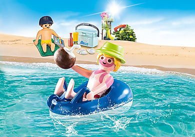 70112 Vacancier avec coups de soleil et bouée