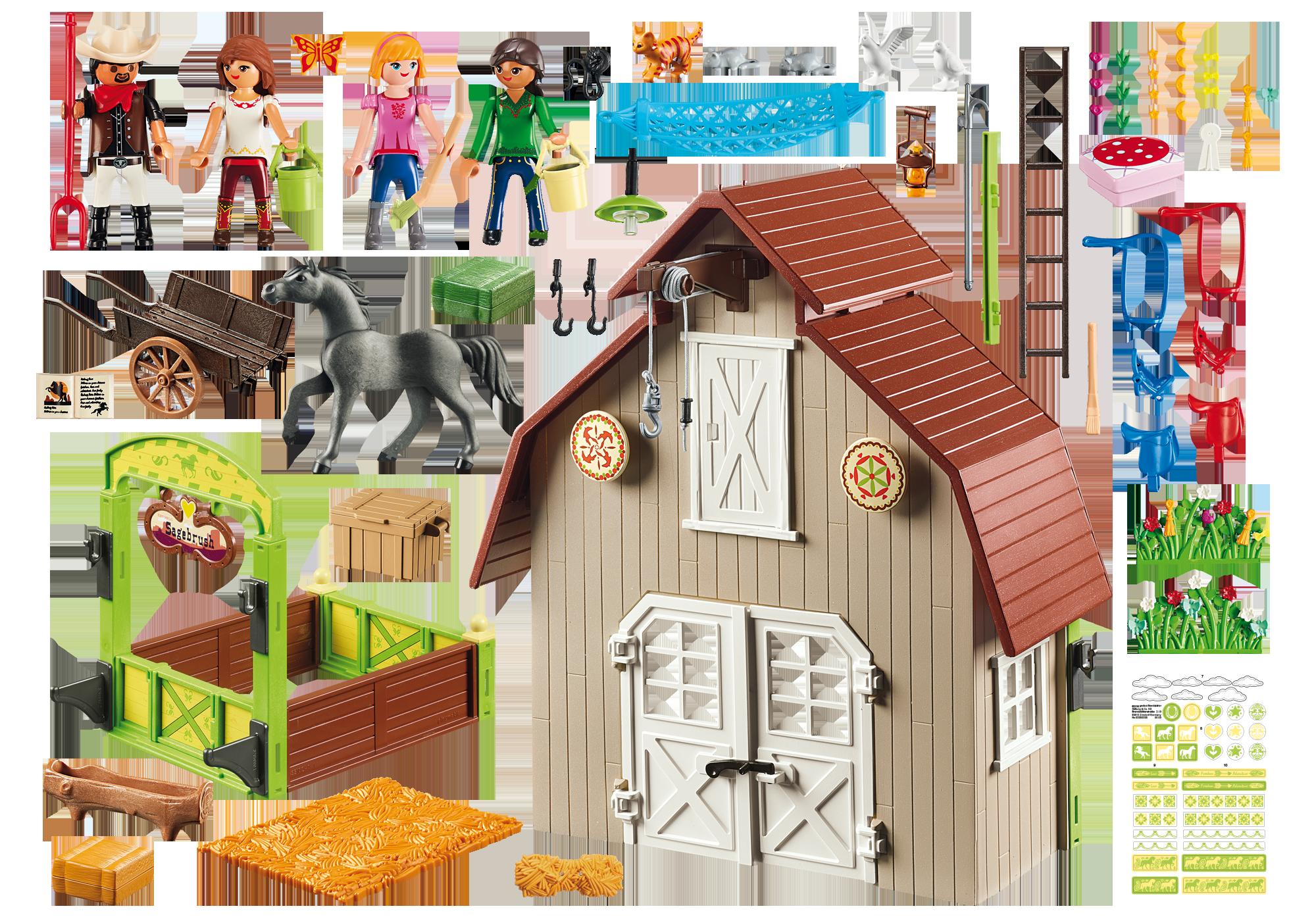 http://media.playmobil.com/i/playmobil/70118_product_box_back/Estábulo com Lucky, Pru e Abigail