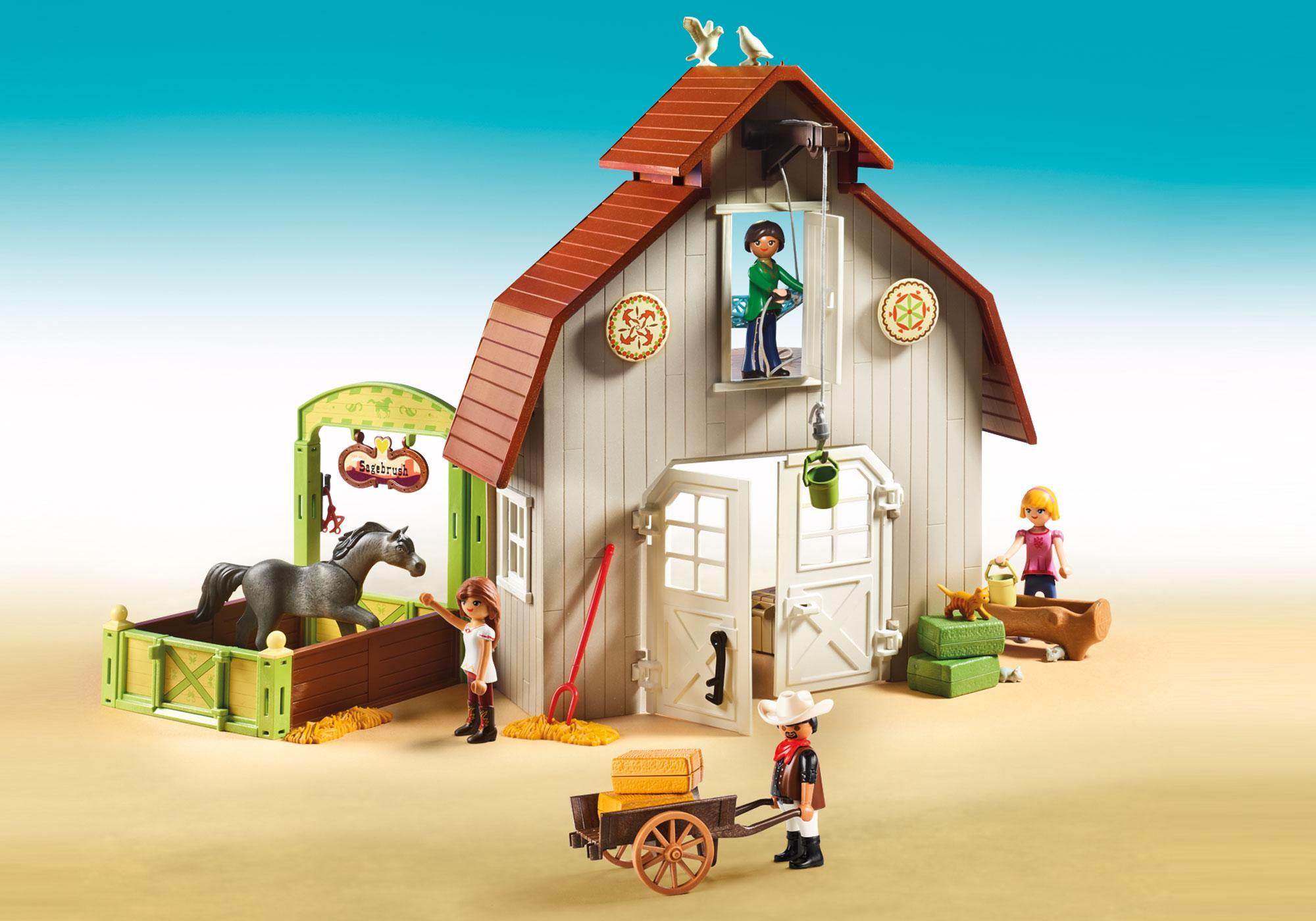 http://media.playmobil.com/i/playmobil/70118_product_extra3/Estábulo com Lucky, Pru e Abigail