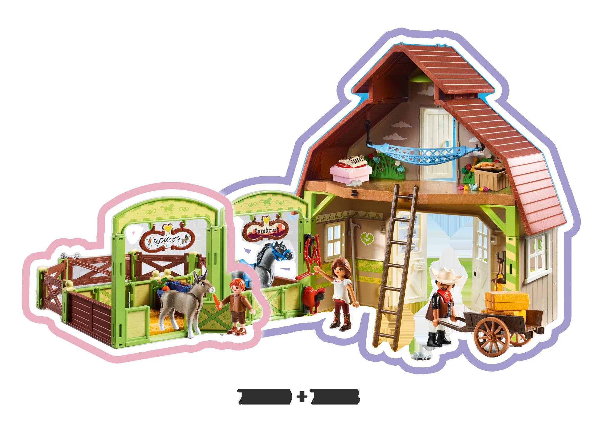 http://media.playmobil.com/i/playmobil/70118_product_extra4/Estábulo com Lucky, Pru e Abigail