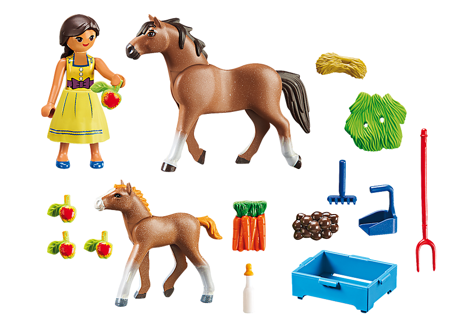 http://media.playmobil.com/i/playmobil/70122_product_box_back/H Πρου με άλογο και πουλάρι