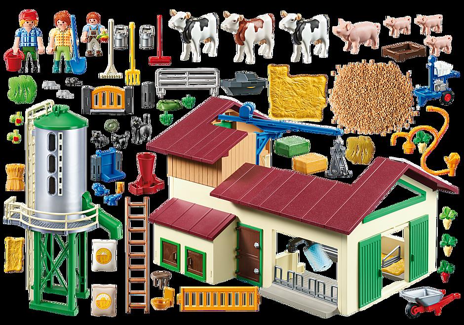 70132 Grande ferme avec silo et animaux detail image 3