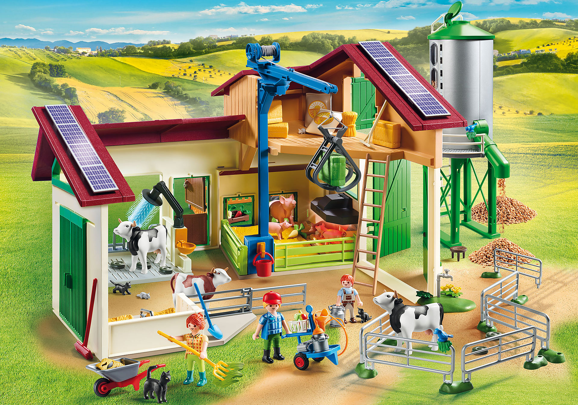70132 Grande ferme avec silo et animaux zoom image1