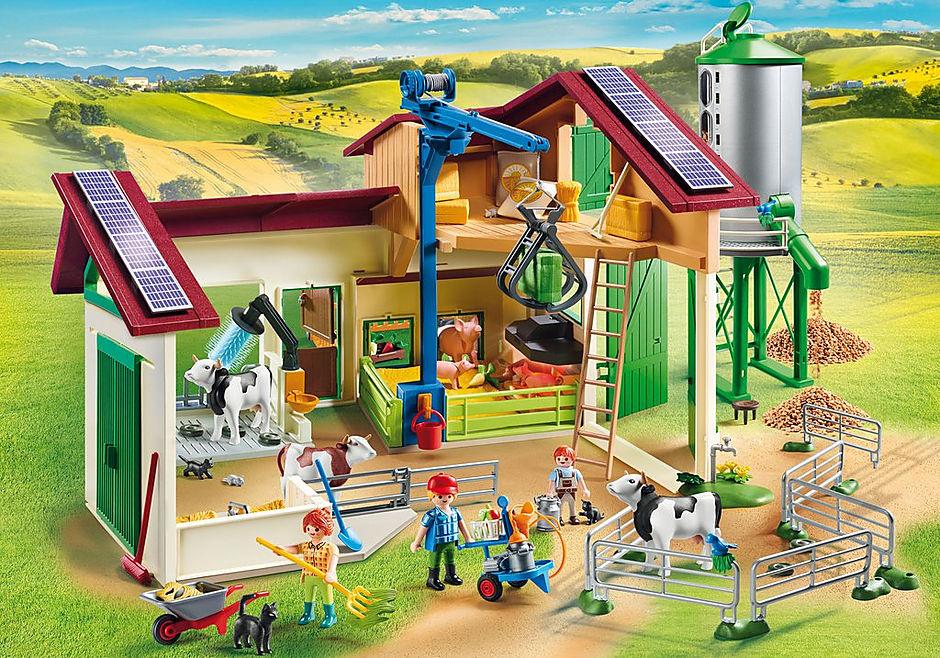 70132 Grande ferme avec silo et animaux detail image 1